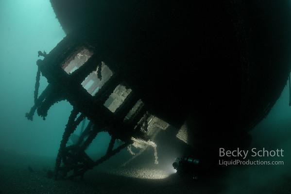 SS Cedarville wreck wheelhouse