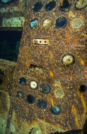 Gauges inside engine room of Cedarville wreck