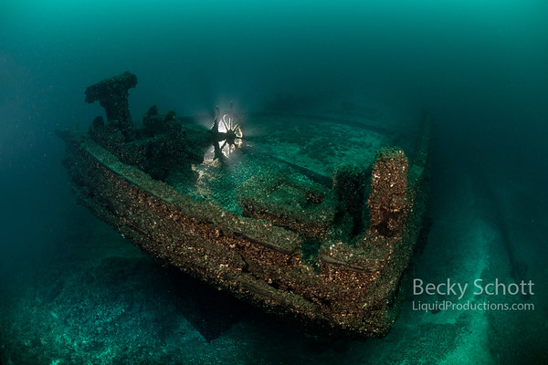 Stern of the schooner  William Young shipwreck