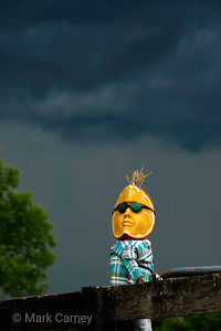 orange man on a stormy day