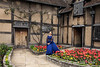 Shakespearean actress at house where Shakespeare was born, 26 April, 1564, Stratford upon Avon