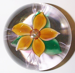 """DCP04780D4 Orange Flower Trial-1... Strathearn Experimental Trial Orange D4 flower weight with a mirror bubble center. Typical five petal flower over three green leaves sitting over four double white twisted latticino strands, 3.4"""" x 2.75"""" and 27 ozs. Flat cut polished base.  No label. Not signed or dated but circa 1967 as that is when, according to Dave Moir, they produced a few of these Orange colored D4 weights as Experimental Trials to see what Designer Angus Sillars would agree to but he prefered the Turquoise, Madder and Gentian colors which became the standards for the Flower weights. All of the flower petals and leaves were made on site at Strathearn. The D4 flower weight was discontinued in May of 1978. acquired 3-15-08."""