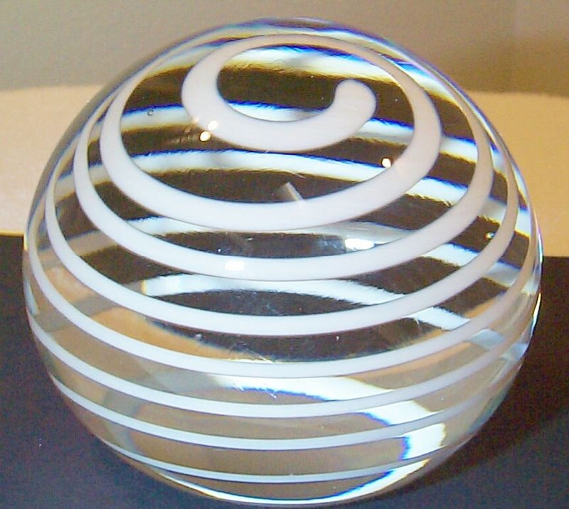 "DCP04460PE-Spiral...Strathearn Experimental Magnum White Ribbon Spiral on a clear ground, 3.43"" x 2.9"" and 29 ozs. Concave fire-polished base. No label. circa 1979 to 1980. Acquired 01-17-03."