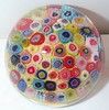 "DCP04025P14...Strathearn P14 Large Carpet Millefiori Closepack on a bright yellow ground, 2.8"" x 2.15"" and 15 ozs. Concave fire-polished smooth pontil mark base. No label. Circa 1965 to 1977. acquired 12-30-99."