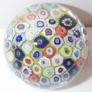 """DCP04015P15...Strathearn P15 Small Carpet Millefiori Closepack on a lime/green ground, 2.3"""" x 1.95"""" and 10 ozs. Concave fire-polished smooth pontil mark base. No label. Circa 1965 to 1980. acquired 11-10-99."""
