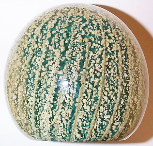 "DCP04643D1 Jumbo Urchin...Strathearn D1 Jumbo Urchin in Green, 3.8"" tall x 4.0"" wide and 51 ozs. Flat cut polished base. Black Strathearn label. Circa 1965 to 1974. acquired 06-05-05."