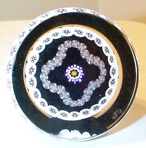 """DCP04432PPS102-1979 or 1980-Portrait Garland...Strathearn PPS102 Portrait Garland Millefiori with a top and side facet on a black ground, 2.9"""" x 1.65"""" and 15 ozs. Flat cut polished base. No label. Not signed, dated or numbered but circa 1979 or 1980. acquired 01-17-03."""