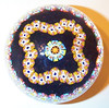 """DCP04441SP102-S80 Garland Millefiori...Strathearn SP102-S80 Limited Edition Garland Millefiori on a black ground, 2.83"""" x 2.25"""" and 16.5 ozs. Flat cut and polished base. No label. Signed and dated """"S80"""" cane on base. acquired 01-17-03."""