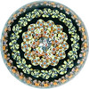 DCP1979-6003SP100 Concentric Millefiori-Private Collector...Strathearn SP100 Concentric Millefiori with four rings of concentric canes around a complex 'S79' center cane on a black ground. Flat cut polished base. This is one of the new range of millefiori designs Strathearn issued in 1979 to be limited to 500 pieces in each design and style. Each weight was to be signed, numbered and authenticated and supplied in a special horseshoe presentation box. Signed and dated 'S79' center cane but not numbered. Probably was numbered on the authentication card but it has been lost. Photo courtesy of a Private Collector.