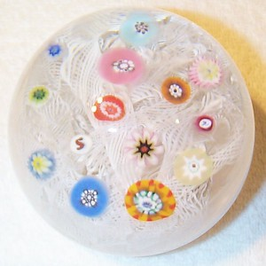 """DCP1971-4516PSM213-S71 Lace....Strathearn PSM213 """"S71"""" Limited Edition Super Magnum scattered millefiori on a muslin or lace ground, 4.2"""" x 3.3"""" & 36 ozs. Flat cut polished base. No label. Signed & dated """"S"""" and """"71"""" canes. acquired 08-19-03."""