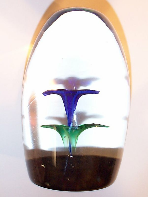 "DCP1979-4567P6-S79 Gentian....Strathearn P6 ""S79"" Gentian Blue upright flower on a translucent blackberry ground, 3.9"" x 2.5"" & 23 ozs. Flat cut & polished base. Black Strathearn label. Signed & dated ""S-79"" cane on base. acquired 04-10-04."