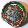 """DCP1978-4544PSF72-S78....Strathearn PSF72 """"S78"""" Limited Edition large 8 spoke in a 1-2-2 design cartwheel on a dark green ground with a top facet and five side facets, 2.76"""" x 1.75"""" & 14 ozs. Flat cut & polished base. Black Strathearn label. Etched signed & dated """"Strathearn 1978"""". These 5/1 faceted L/E PSF72 weights were limited to 100 per year and each piece was supposed to be etched signed & dated & with a production number (my example is not numbered but it is possible that only the authentication card had the issue number on it), came in a free presentation box and authentication card. acquired 12-11-03."""