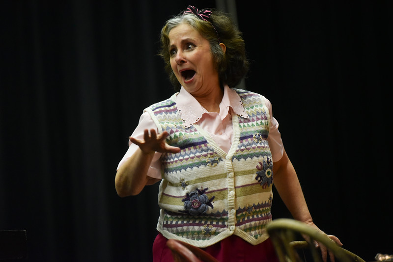 "(04/08/18 FITCHBURG MA) Lisa McGirr act's out her role as ""Betty"" during Sunday's dress rehearsal at the Applewild School in Fitchburg for the Stratton Players upcoming production.  SENTINEL & ENTERPRISE JEFF PORTER"