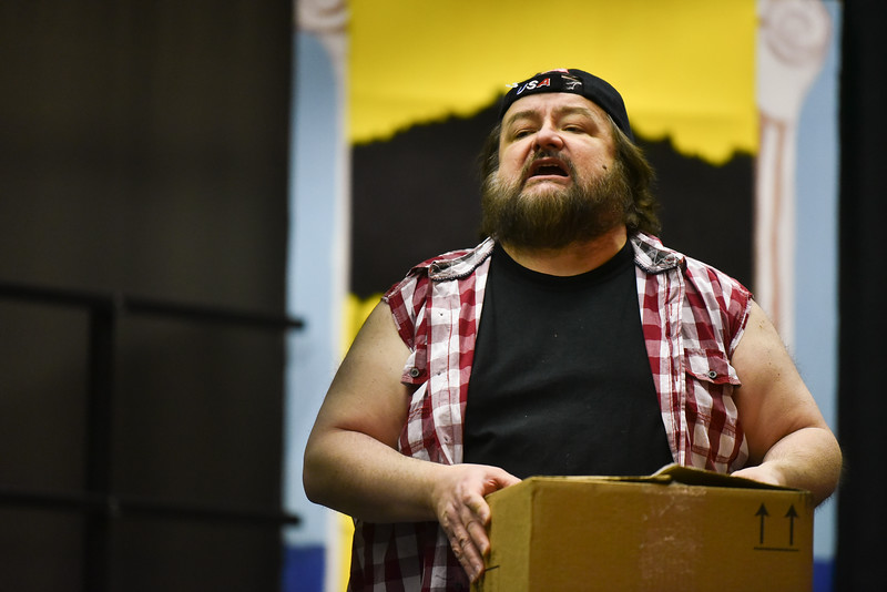 (04/08/18 FITCHBURG MA) Christopher Jane acts out a scene for the Stratton Players upcoming performance during Sunday's dress rehearsal at the Applewild School in Fitchburg.  SENTINEL & ENTERPRISE JEFF PORTER
