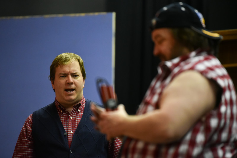 (04/08/18 FITCHBURG MA) Michael Knight acts out a scene for the Stratton Players upcoming performance during Sunday's dress rehearsal at the Applewild School in Fitchburg.  SENTINEL & ENTERPRISE JEFF PORTER