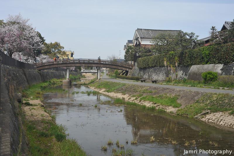 Looking towards the Old Bridge.<br /> In Yawata city, Kyoto-fu, Japan.