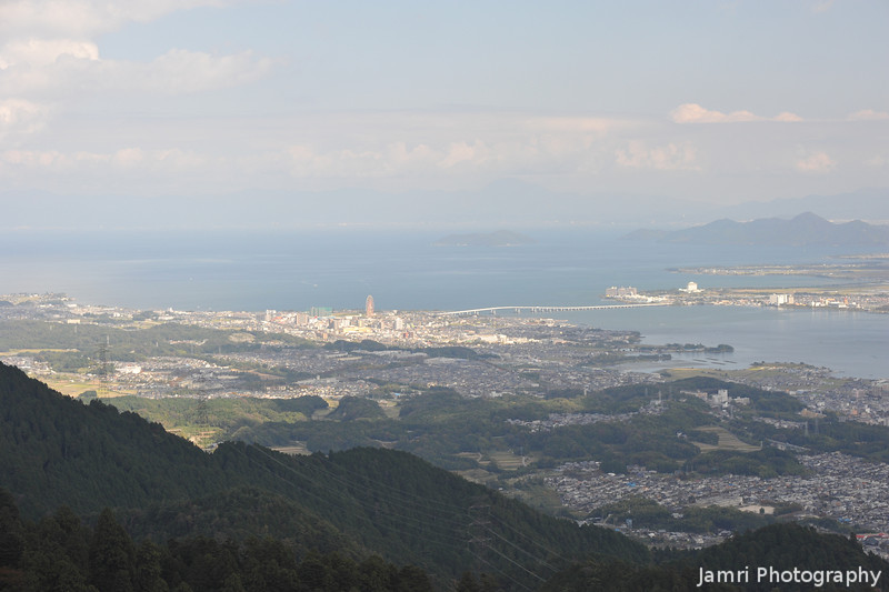 Looking Out on Lake Biwa.<br /> From near the Cable Enryakuji Station on Mt. Hiei.