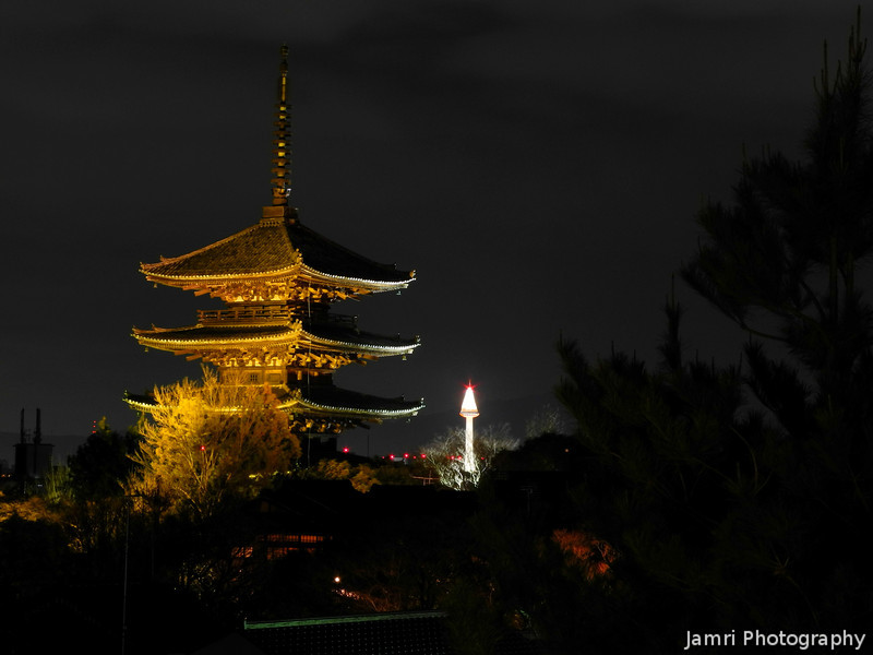 Two Towers 2013.<br /> Yasaka Pagoda at Hokan-ji in the foreground, The Kyoto Tower in the background.<br /> Lit up for the Higashiyama Hanatouro.