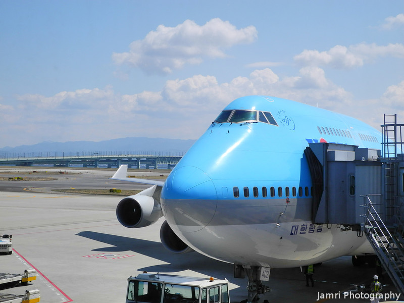 A Korean Air 747-400.<br /> At Kansai Airport, Osaka-fu, Japan.
