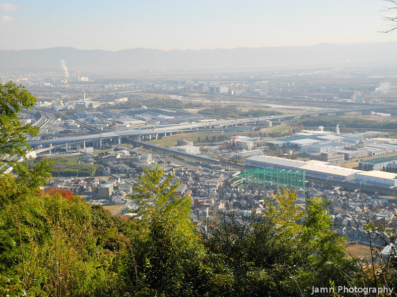 Across the valley.<br /> A view of mostly Oyamazaki town and bit of Yodo in Fushimi across the river. Nagaokakyo where I live is around the corner from the top left.