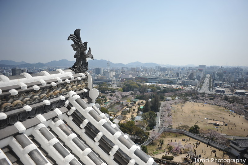 The Castle Roof and Himeji City
