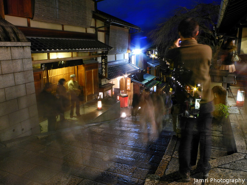 A Ghostly Photographer.<br /> An 8 second exposure during the 2012 Higashiyama Hanatouro creates a few ghosts!