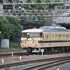 Older electric train returning to depot.<br /> From Kyoto Station.