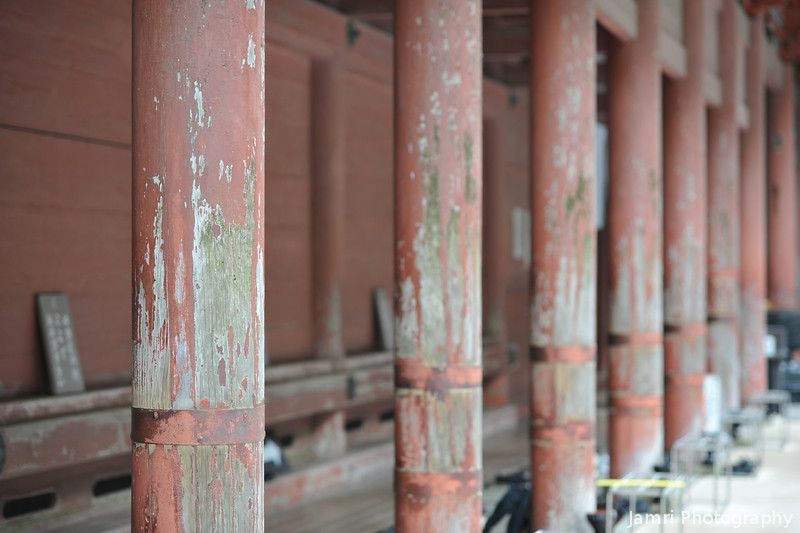 Well Worn Pillars.<br /> Along one of the temple buildings on Mt. Hiei.