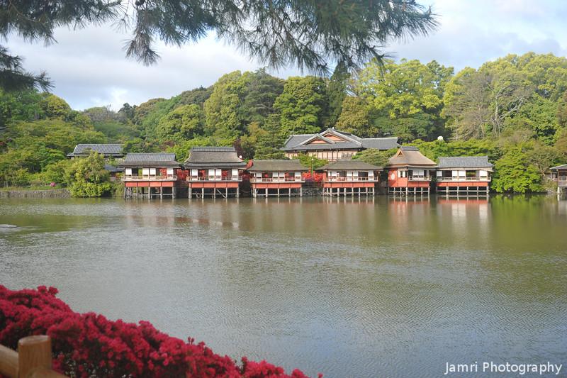 Across the Pond.<br /> Towards the traditional restaurant.<br /> At Nagaoka Tenmangu Shrine, Nagaokakyo, Kyoto-fu, Japan.