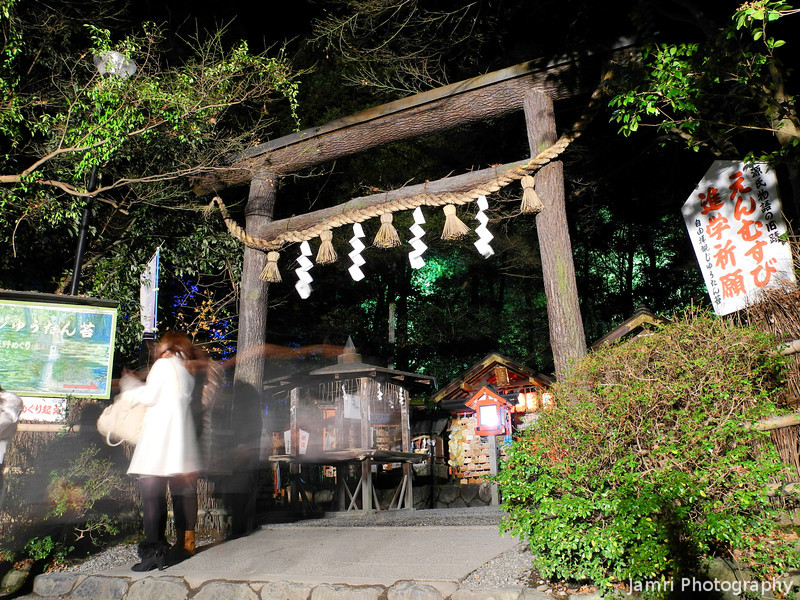 """Outside Nonomiya-Jinja.<br /> This Shinto shrine in Arashiyama is very old and it's mentioned in the """"Tale of Genji"""" which is one of the worlds oldest novels.<br /> This photo was captured during the 2012 Arashiyama Hanatouro."""