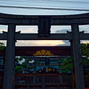 Sunset behind Hatsuebisu Shrine