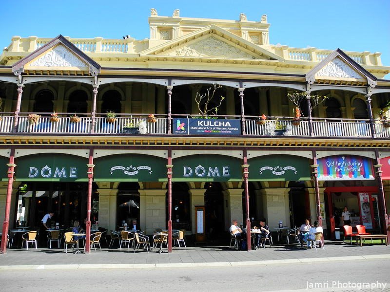 Dome Cafe and Kulcha in Fremantle.<br /> While I prefer small family run coffee shops, for a chain Dome isn't too bad. Definitely better than S...B.....<br /> Kulcha is a multicultural arts venue with a capacity to host 200 people.