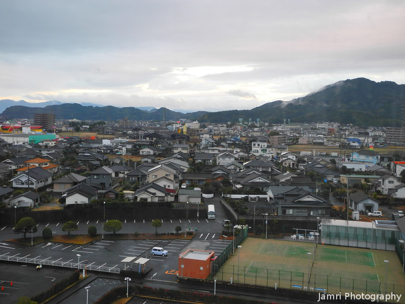 In Kagoshima Prefecture.<br /> Part of the view from our room at the Kyocera Hotel in Aira city, Kagoshima Prefecture.