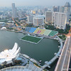 The view north.<br /> From the Marina Bay Sands Hotel observation deck.<br /> Note the soccer pitch in the water.
