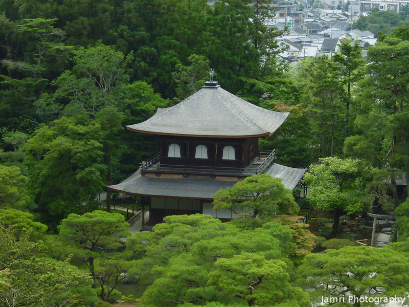 The Silver Pavilion from a Hill.<br /> Photo by Ritsuko.