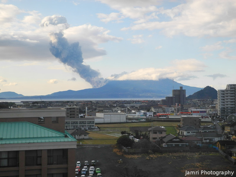 Bakuhatsu.<br /> Bakuhatsu means explosion or eruption. Sakurajima in Kagoshima is one of the most active volcanoes in the world. Eruptions occur daily, sometimes more frequent.