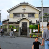 United Church of Christ (Presbyterian).<br /> Near Demachiyanagi station, we were on our way to eat at Falafel Garden, when I took this snap shot. It's interesting to note that the Falafel Garden branch in Nara (now closed) was also near a church.