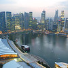 The Singapore CBD in the early evening.<br /> From the observation deck of the Marina Bay Sands Hotel.