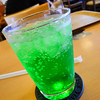 A Melon Soda.<br /> Part of my Lunch at Mosburger in Saiin. Since there is no longer any Mosburger in Nagaokakyo, the quickest one we can get to is the one near Hankyu Saiin station in Kyoto. We also prefer going to this one than the one in Kawaramachi because it's a bit quieter.