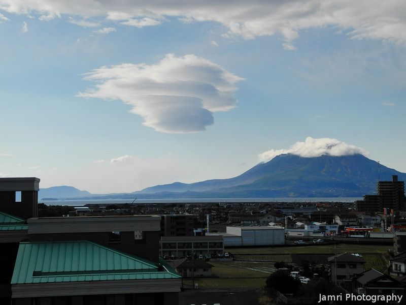 Unusual Cloud beside Sakurajima.<br /> From our room at the Kyocera Hotel in Aira City, Kagoshima Prefecture.