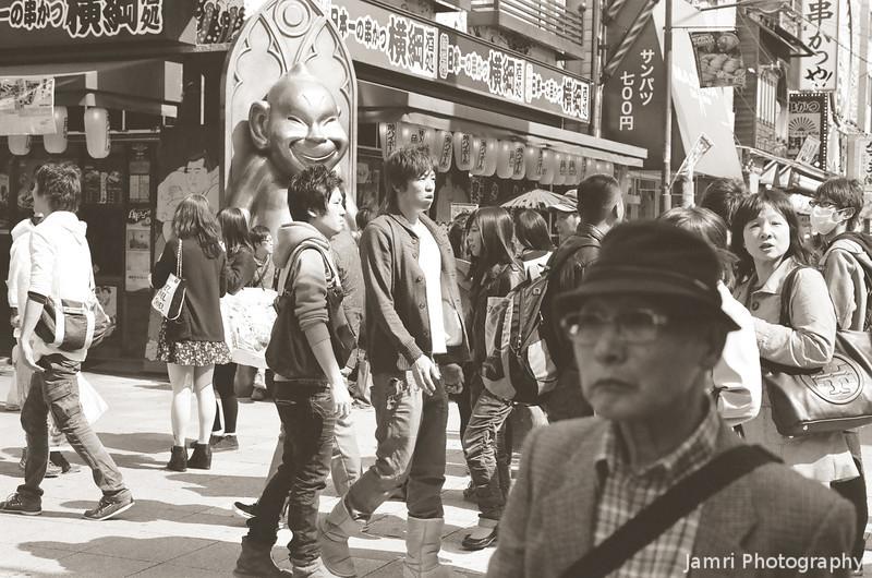 At Street Level in Shinsekai, Osaka.<br /> Note Film Shot: Nikon F80 + 50f/1.8 + PO-1 Green Filter, Kodak 400 TMax Film.<br /> Split toned with the Gimp.