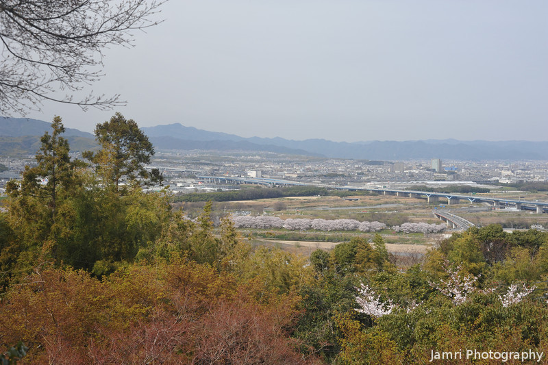The View Towards Nagaokakyo.<br /> With Mt. Atago in the background.<br /> From Mt. Otoko, Yawata city, Kyoto-fu.