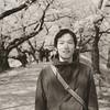 Takashi under the Sakura at Yawata.<br /> Note Film Shot: Nikon F80 + 50f/1.8 + PO1 Green Filter, Kodak 100 TMax Film.<br /> Split toned with the Gimp.