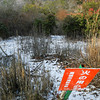 "Red Sign and White Snow.<br /> The sign says ""be careful about fires"""
