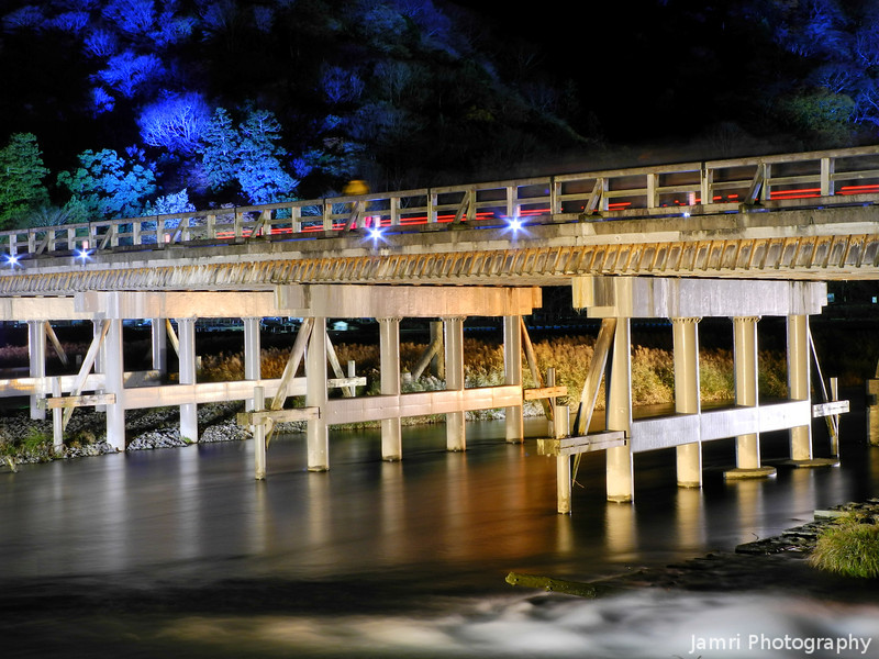 "At the Togetsukyo.<br /> The Togetsukyo means ""moonlight crossing bridge"". Taken during the 2012 Arashiyama Hanatouro."
