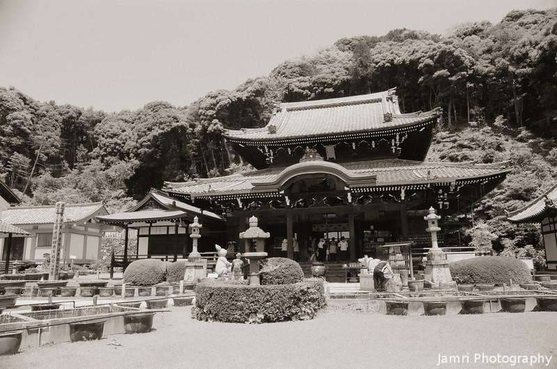 The Main Hall.<br /> Of Mimuroto-ji (a Buddhist Temple), in Uji city, Kyoto-fu, Japan.<br /> Note Film Shot: Nikon F80 + 24f/2.8 + Y2 Yellow Filter, Kodak 100 TMax Film.<br /> Split toned with the Gimp.