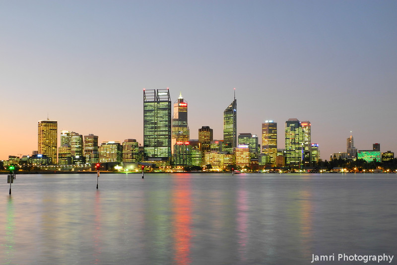Perth, just after sunset.<br /> My home town has grown a little in the last four years!