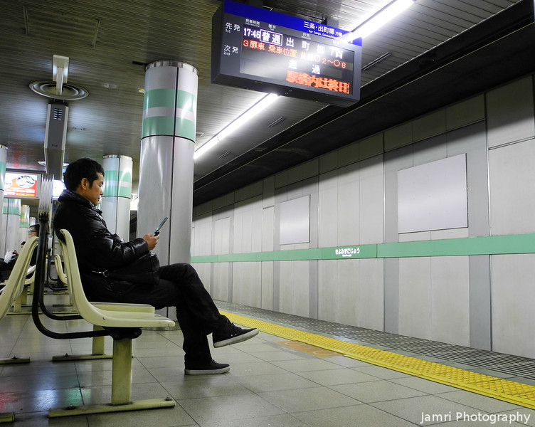 Waiting at the Station.<br /> At Keihan's Kiyomizu-gojo station.<br /> A test shot with my P7100 on a tripod and using the IR-remote.