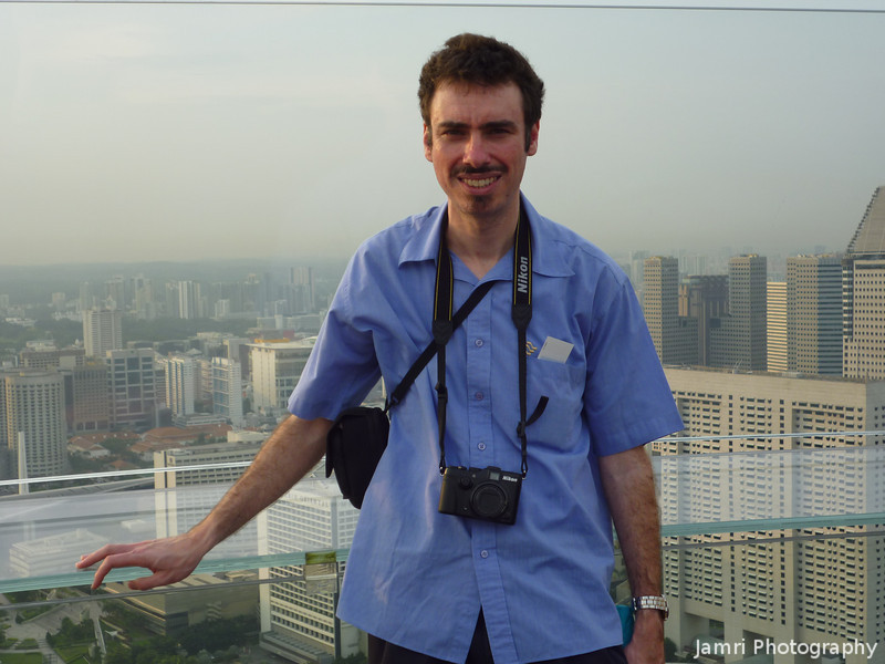 Me on the Observation Deck.<br /> Of the Marina Bay Sands Hotel.<br /> Photo by Ritsuko.
