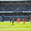 Kicking for Goal.<br /> Chris Mayne of the Fremantle Dockers kicks a goal in the Fremantle Dockers v Richmond Tigers game.